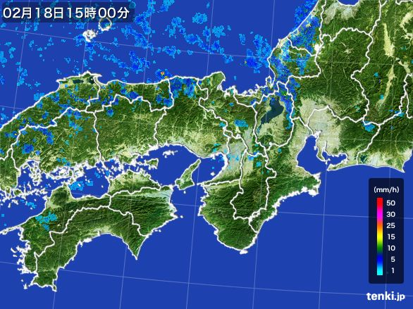 近畿地方の雨雲レーダー(2015年02月18日)