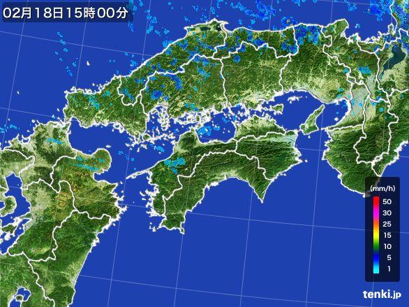 四国地方の雨雲レーダー(2015年02月18日)