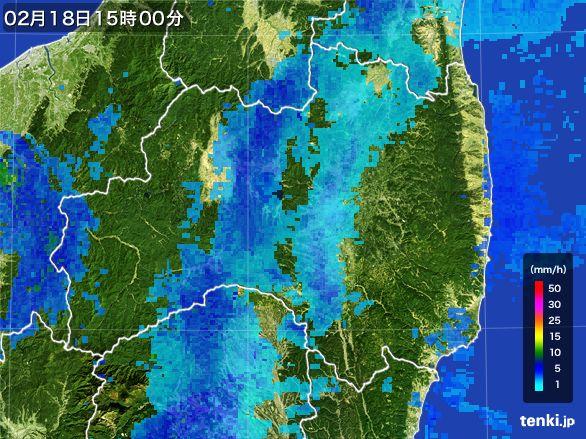 福島県の雨雲レーダー(2015年02月18日)