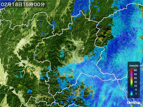 群馬県の雨雲レーダー(2015年02月18日)