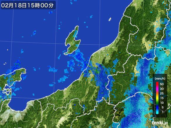 新潟県の雨雲レーダー(2015年02月18日)