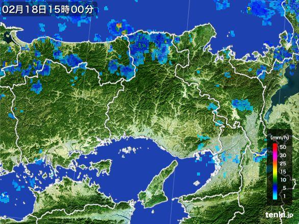兵庫県の雨雲レーダー(2015年02月18日)