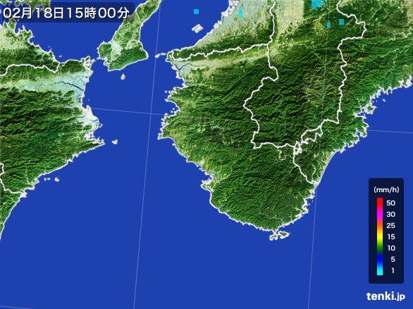 和歌山県の雨雲レーダー(2015年02月18日)