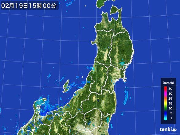 東北地方の雨雲レーダー(2015年02月19日)