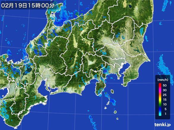 関東・甲信地方の雨雲レーダー(2015年02月19日)