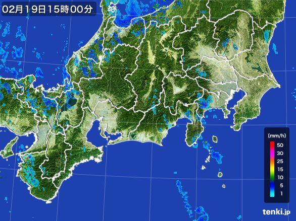 東海地方の雨雲レーダー(2015年02月19日)