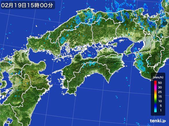 四国地方の雨雲レーダー(2015年02月19日)