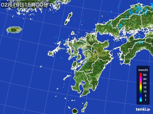 九州地方の雨雲レーダー(2015年02月19日)