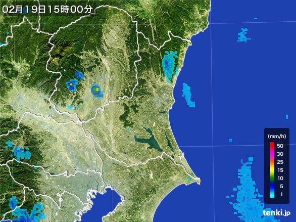 茨城県の雨雲レーダー(2015年02月19日)