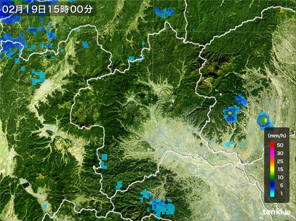 群馬県の雨雲レーダー(2015年02月19日)