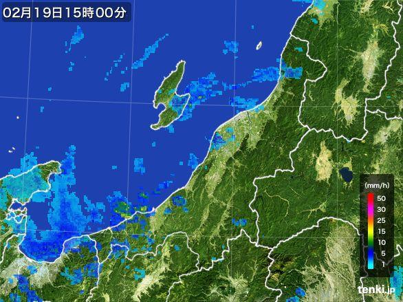 新潟県の雨雲レーダー(2015年02月19日)