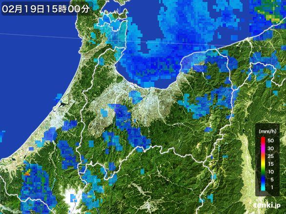 富山県の雨雲レーダー(2015年02月19日)