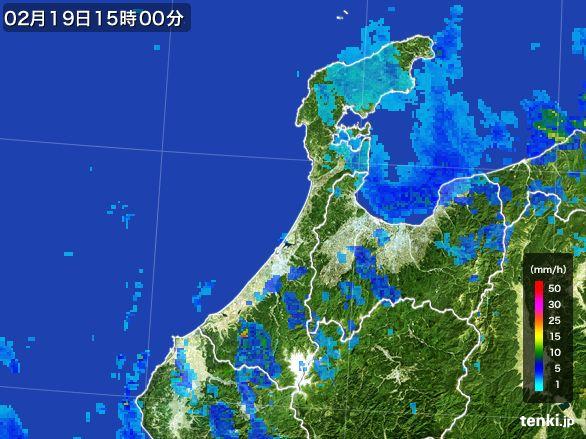 石川県の雨雲レーダー(2015年02月19日)