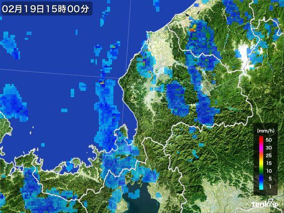 福井県の雨雲レーダー(2015年02月19日)