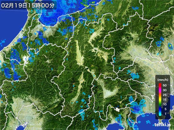 長野県の雨雲レーダー(2015年02月19日)