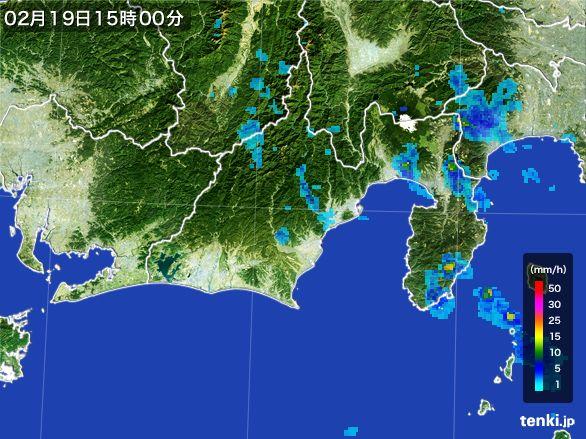 静岡県の雨雲レーダー(2015年02月19日)