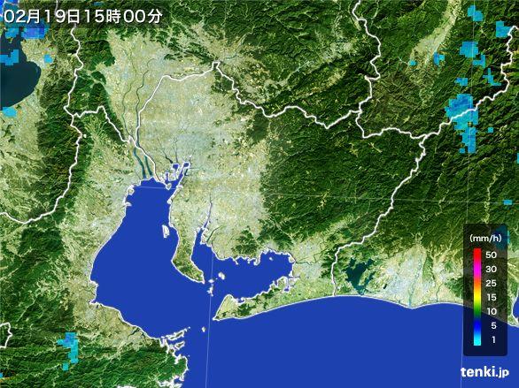 愛知県の雨雲レーダー(2015年02月19日)