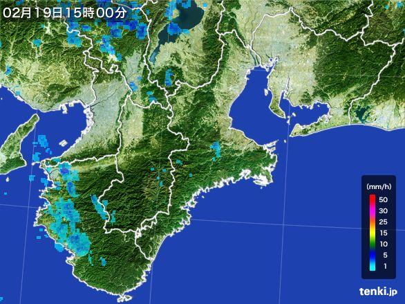 三重県の雨雲レーダー(2015年02月19日)