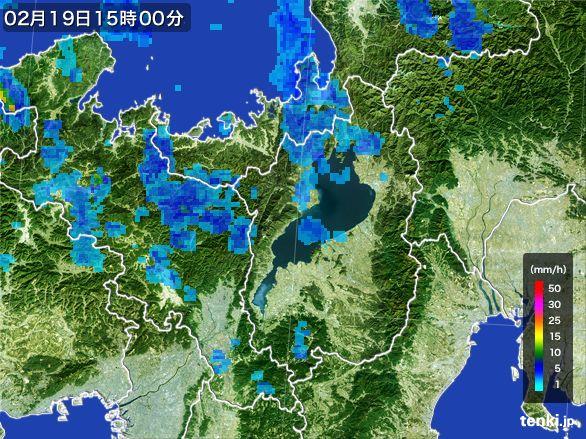 滋賀県の雨雲レーダー(2015年02月19日)