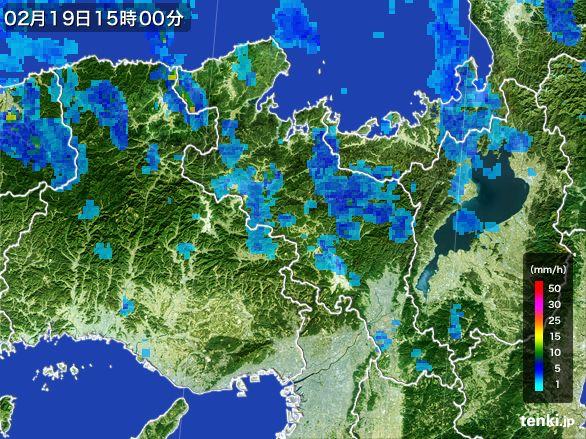 京都府の雨雲レーダー(2015年02月19日)