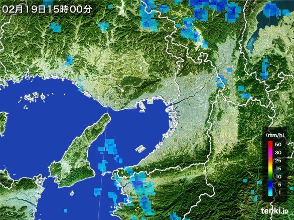 大阪府の雨雲レーダー(2015年02月19日)