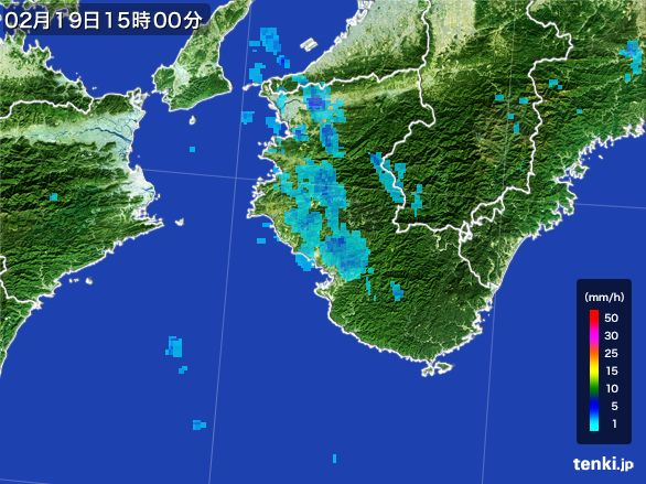 和歌山県の雨雲レーダー(2015年02月19日)