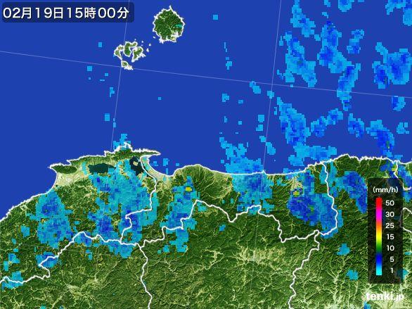 鳥取県の雨雲レーダー(2015年02月19日)