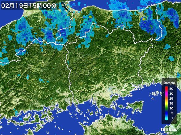 岡山県の雨雲レーダー(2015年02月19日)