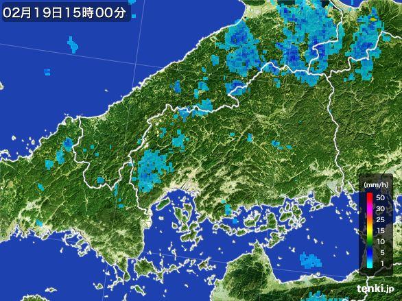 広島県の雨雲レーダー(2015年02月19日)