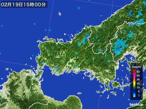 山口県の雨雲レーダー(2015年02月19日)