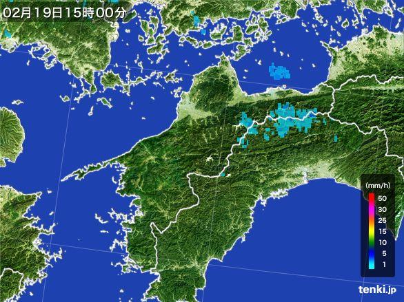 愛媛県の雨雲レーダー(2015年02月19日)