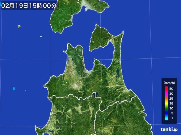 青森県の雨雲レーダー(2015年02月19日)