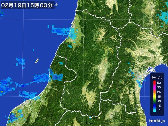 山形県の雨雲レーダー(2015年02月19日)