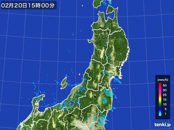 東北地方の雨雲レーダー(2015年02月20日)