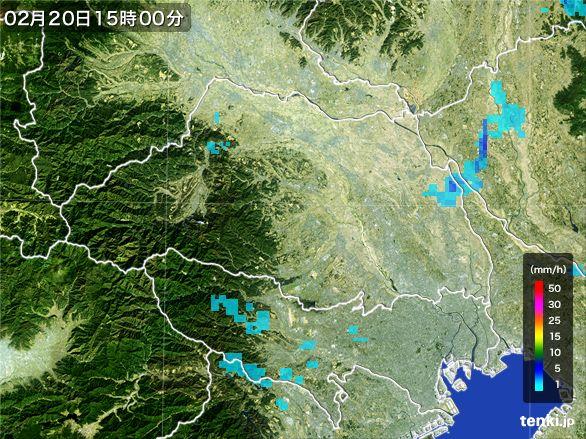 埼玉県の雨雲レーダー(2015年02月20日)