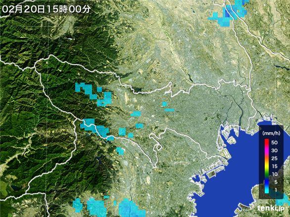 東京都の雨雲レーダー(2015年02月20日)
