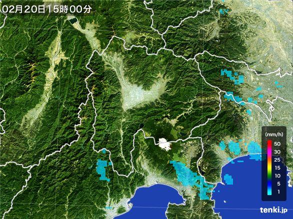山梨県の雨雲レーダー(2015年02月20日)