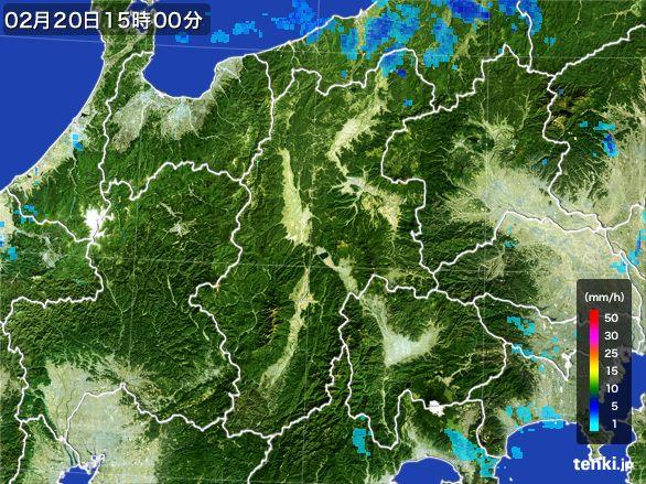 長野県の雨雲レーダー(2015年02月20日)