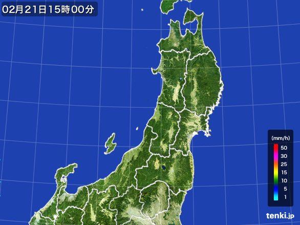 東北地方の雨雲レーダー(2015年02月21日)