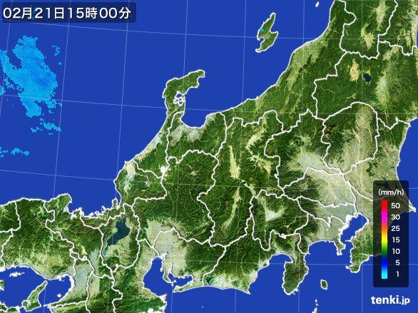 北陸地方の雨雲レーダー(2015年02月21日)