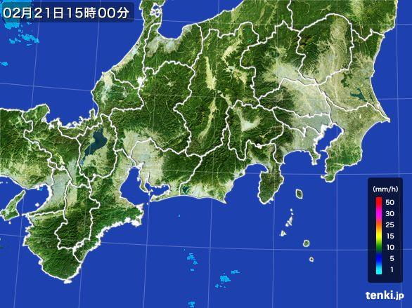 東海地方の雨雲レーダー(2015年02月21日)