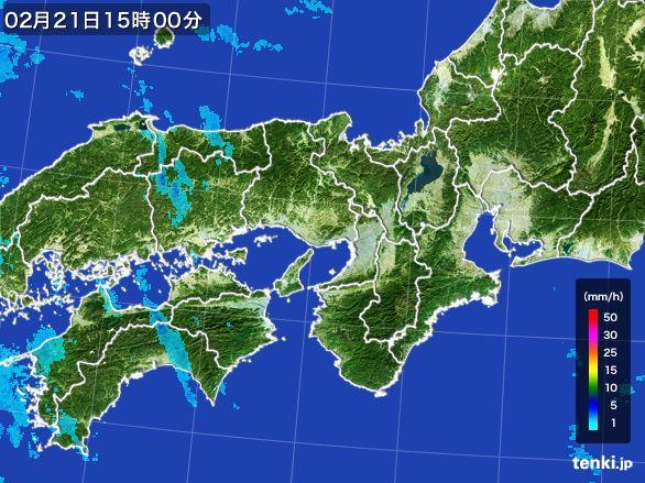 近畿地方の雨雲レーダー(2015年02月21日)