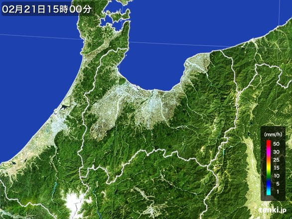 富山県の雨雲レーダー(2015年02月21日)