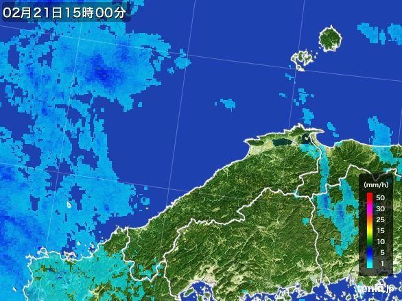 島根県の雨雲レーダー(2015年02月21日)