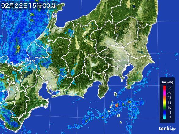 関東・甲信地方の雨雲レーダー(2015年02月22日)