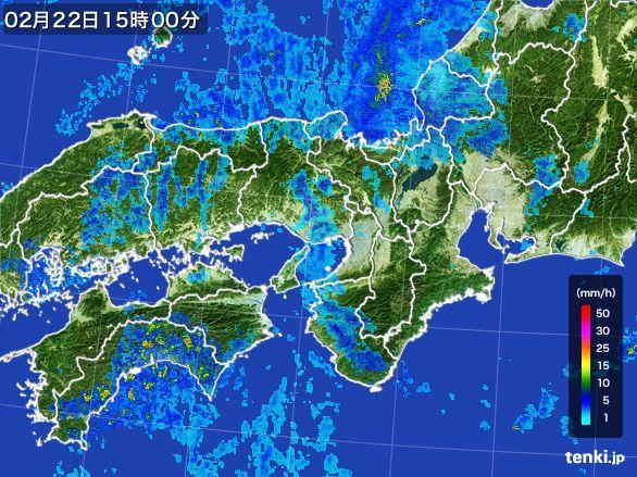 近畿地方の雨雲レーダー(2015年02月22日)