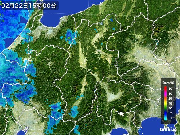 長野県の雨雲レーダー(2015年02月22日)