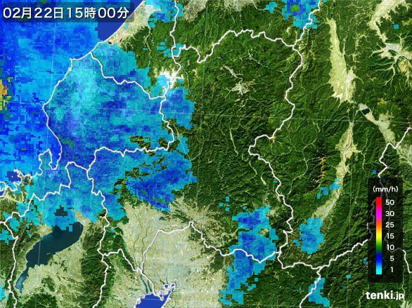 岐阜県の雨雲レーダー(2015年02月22日)