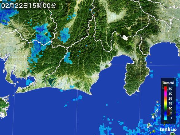 静岡県の雨雲レーダー(2015年02月22日)