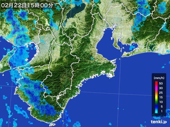 三重県の雨雲レーダー(2015年02月22日)